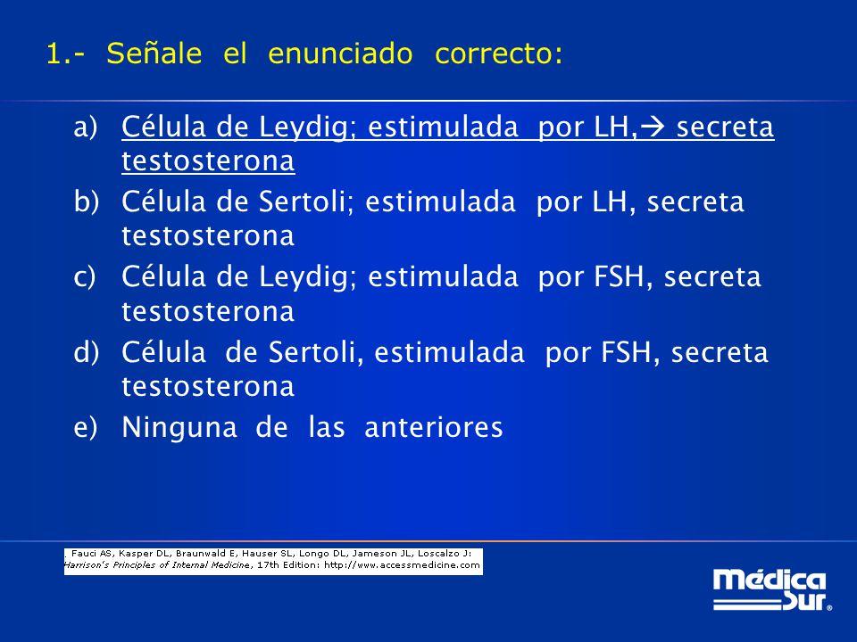1.- Señale el enunciado correcto: a)Célula de Leydig; estimulada por LH, secreta testosterona b)Célula de Sertoli; estimulada por LH, secreta testosterona c)Célula de Leydig; estimulada por FSH, secreta testosterona d)Célula de Sertoli, estimulada por FSH, secreta testosterona e)Ninguna de las anteriores