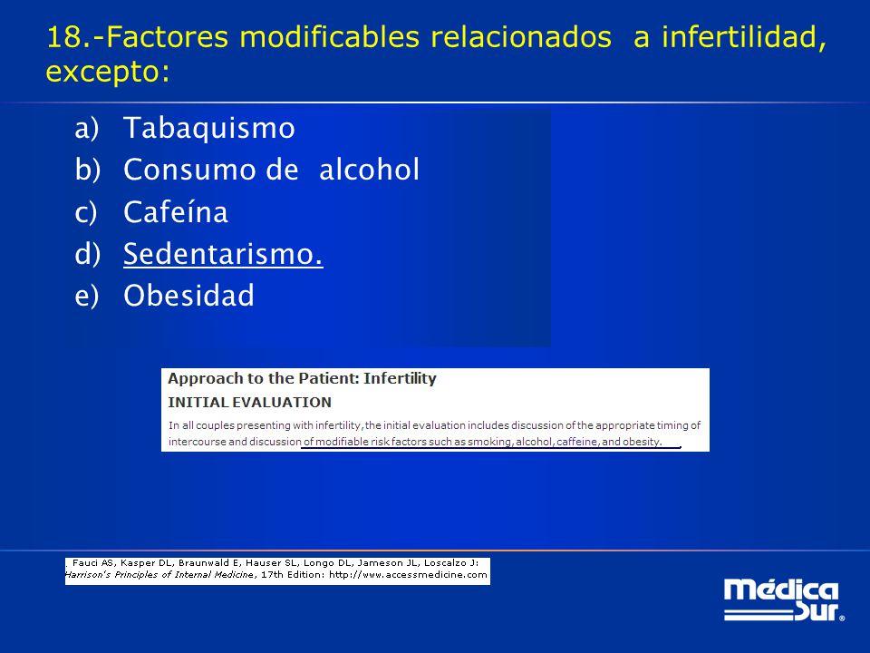 18.-Factores modificables relacionados a infertilidad, excepto: a)Tabaquismo b)Consumo de alcohol c)Cafeína d)Sedentarismo.