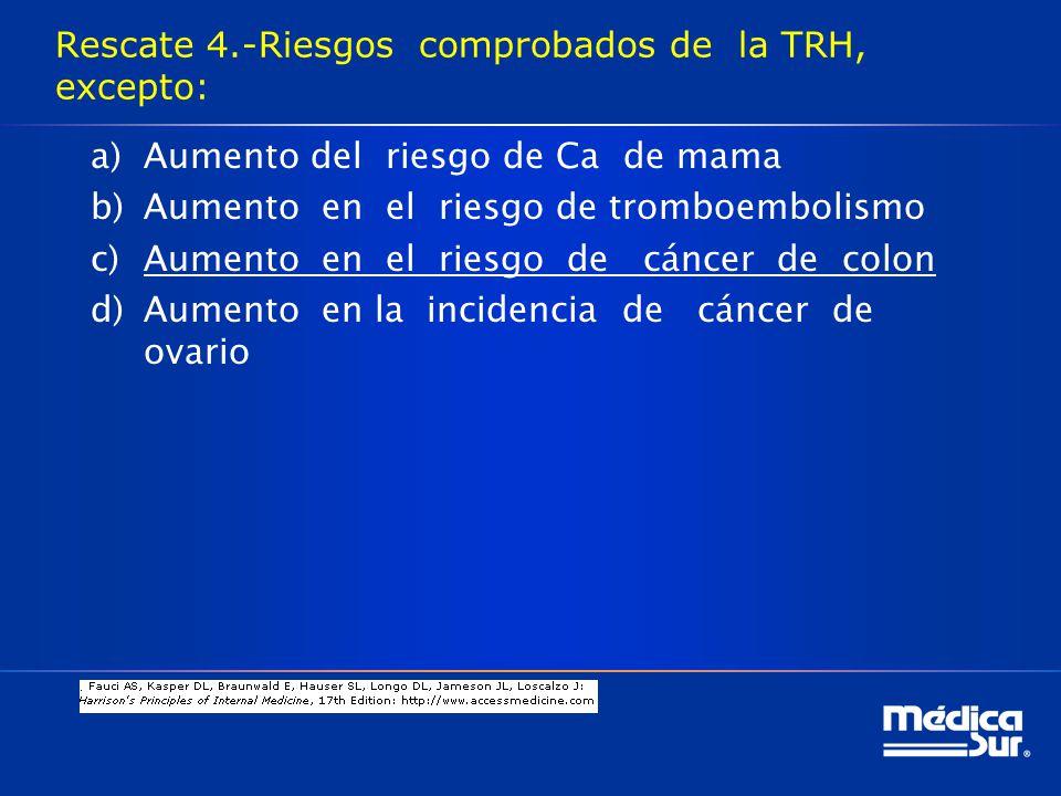 Rescate 4.-Riesgos comprobados de la TRH, excepto: a)Aumento del riesgo de Ca de mama b)Aumento en el riesgo de tromboembolismo c)Aumento en el riesgo de cáncer de colon d)Aumento en la incidencia de cáncer de ovario