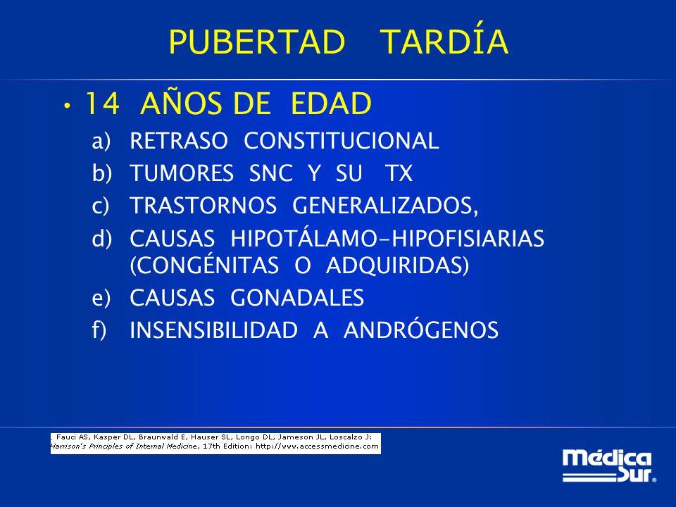 PUBERTAD TARDÍA 14 AÑOS DE EDAD a)RETRASO CONSTITUCIONAL b)TUMORES SNC Y SU TX c)TRASTORNOS GENERALIZADOS, d)CAUSAS HIPOTÁLAMO-HIPOFISIARIAS (CONGÉNITAS O ADQUIRIDAS) e)CAUSAS GONADALES f)INSENSIBILIDAD A ANDRÓGENOS