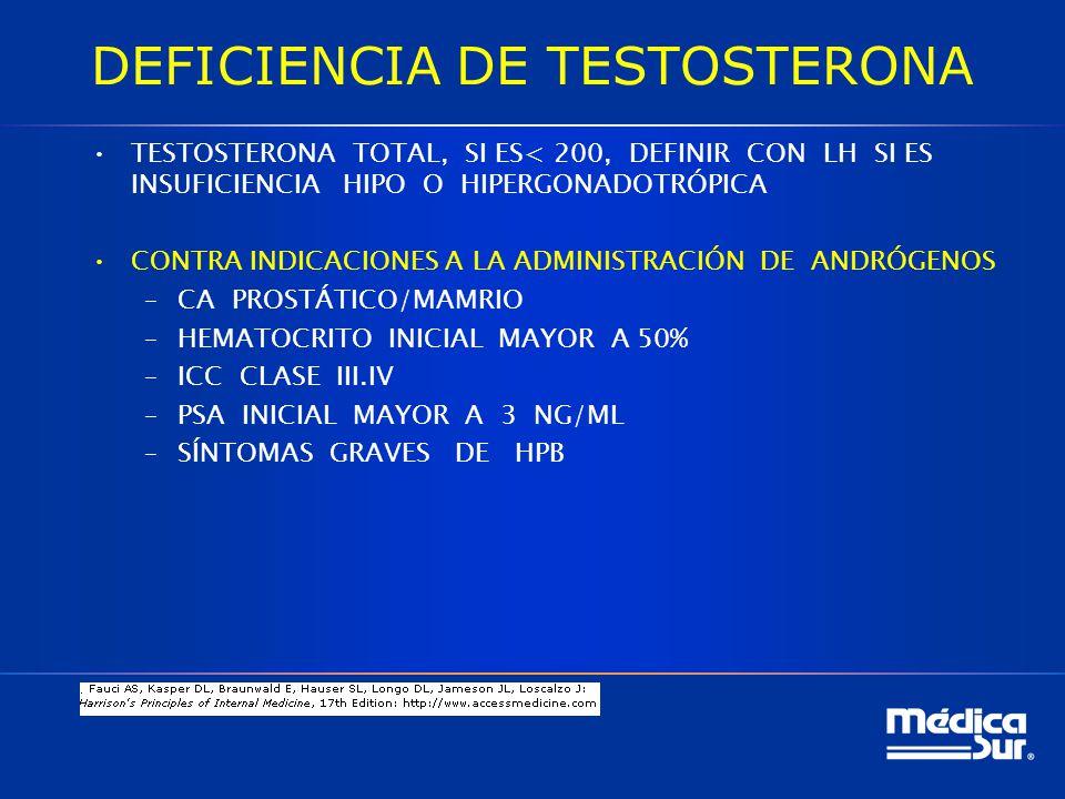 DEFICIENCIA DE TESTOSTERONA TESTOSTERONA TOTAL, SI ES< 200, DEFINIR CON LH SI ES INSUFICIENCIA HIPO O HIPERGONADOTRÓPICA CONTRA INDICACIONES A LA ADMINISTRACIÓN DE ANDRÓGENOS –CA PROSTÁTICO/MAMRIO –HEMATOCRITO INICIAL MAYOR A 50% –ICC CLASE III.IV –PSA INICIAL MAYOR A 3 NG/ML –SÍNTOMAS GRAVES DE HPB