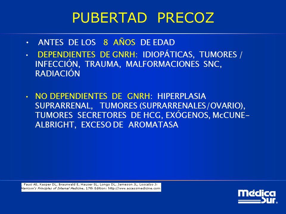 PUBERTAD PRECOZ ANTES DE LOS 8 AÑOS DE EDAD DEPENDIENTES DE GNRH: IDIOPÁTICAS, TUMORES / INFECCIÓN, TRAUMA, MALFORMACIONES SNC, RADIACIÓN NO DEPENDIENTES DE GNRH: HIPERPLASIA SUPRARRENAL, TUMORES (SUPRARRENALES/OVARIO), TUMORES SECRETORES DE HCG, EXÓGENOS, McCUNE- ALBRIGHT, EXCESO DE AROMATASA