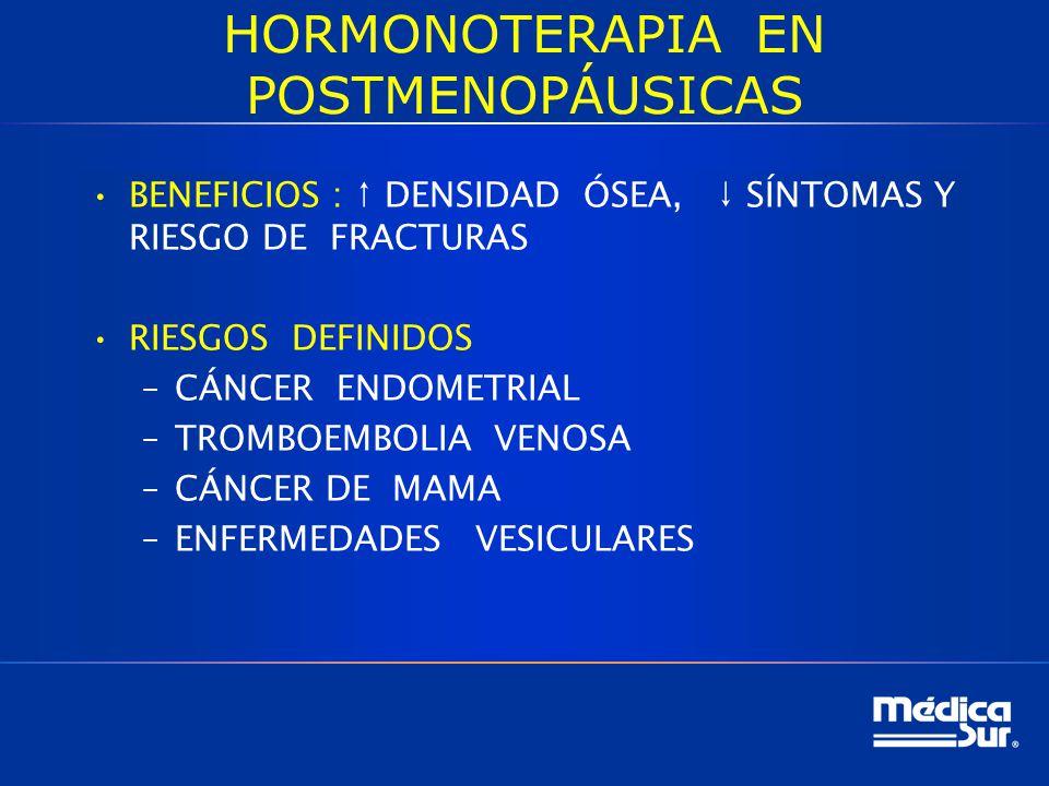 HORMONOTERAPIA EN POSTMENOPÁUSICAS BENEFICIOS : DENSIDAD ÓSEA, SÍNTOMAS Y RIESGO DE FRACTURAS RIESGOS DEFINIDOS –CÁNCER ENDOMETRIAL –TROMBOEMBOLIA VENOSA –CÁNCER DE MAMA –ENFERMEDADES VESICULARES