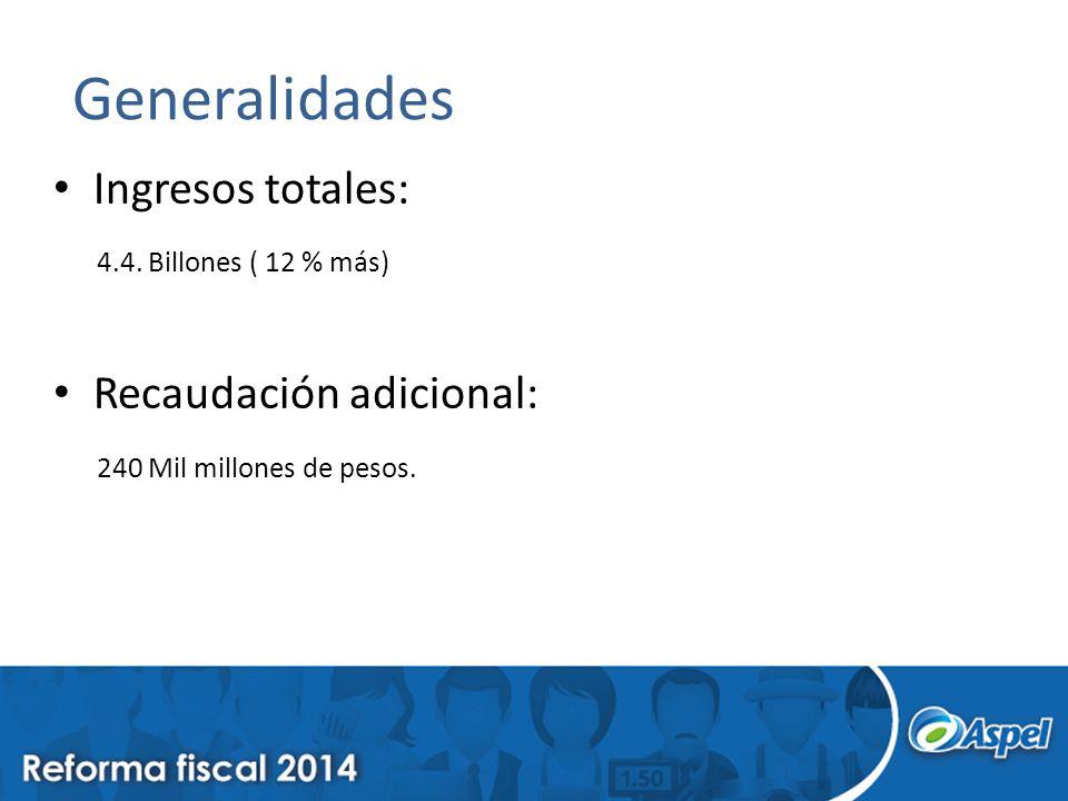 Generalidades Ingresos totales: 4.4. Billones ( 12 % más) Recaudación adicional: 240 Mil millones de pesos.
