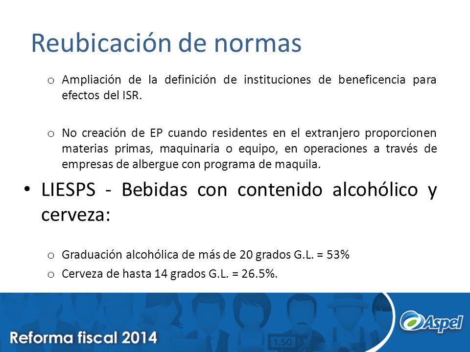 Reubicación de normas o Ampliación de la definición de instituciones de beneficencia para efectos del ISR.