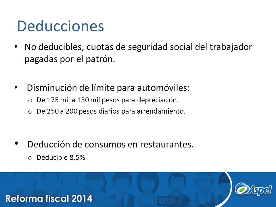 Deducciones No deducibles, cuotas de seguridad social del trabajador pagadas por el patrón. Disminución de límite para automóviles: o De 175 mil a 130