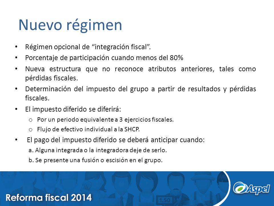 Nuevo régimen Régimen opcional de integración fiscal. Porcentaje de participación cuando menos del 80% Nueva estructura que no reconoce atributos ante
