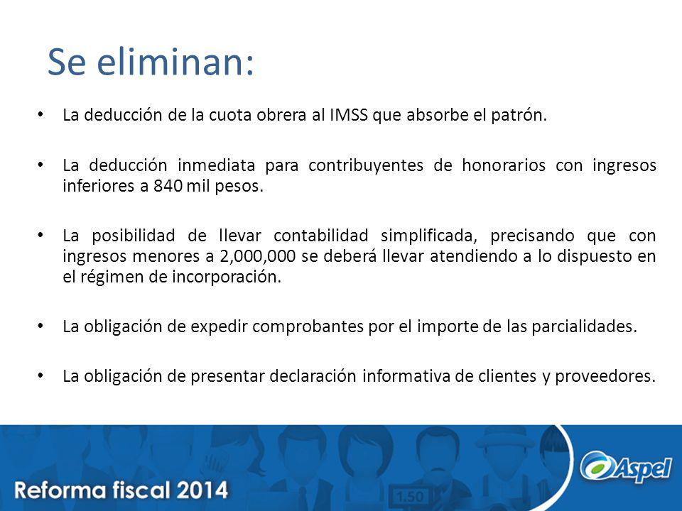 Se eliminan: La deducción de la cuota obrera al IMSS que absorbe el patrón. La deducción inmediata para contribuyentes de honorarios con ingresos infe
