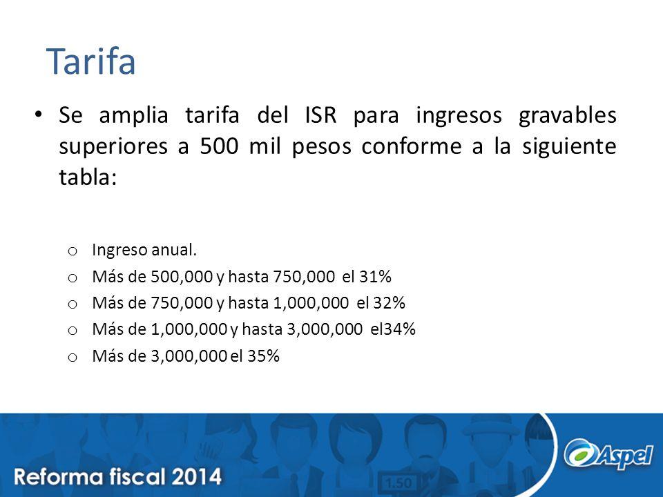 Tarifa Se amplia tarifa del ISR para ingresos gravables superiores a 500 mil pesos conforme a la siguiente tabla: o Ingreso anual. o Más de 500,000 y