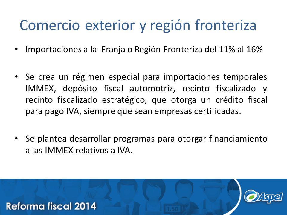 Comercio exterior y región fronteriza Importaciones a la Franja o Región Fronteriza del 11% al 16% Se crea un régimen especial para importaciones temp