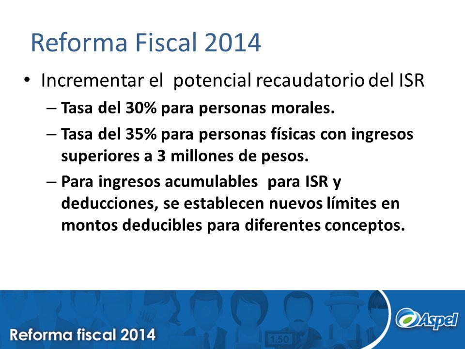 Reforma Fiscal 2014 Incrementar el potencial recaudatorio del ISR – Tasa del 30% para personas morales. – Tasa del 35% para personas físicas con ingre