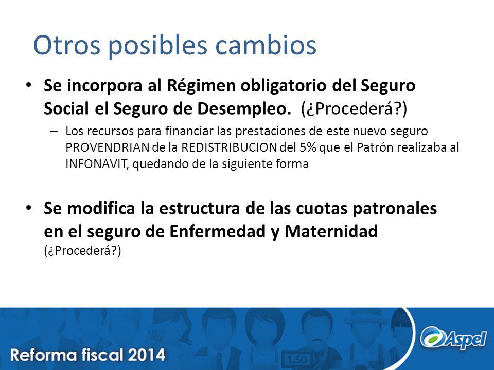 Otros posibles cambios Se incorpora al Régimen obligatorio del Seguro Social el Seguro de Desempleo.
