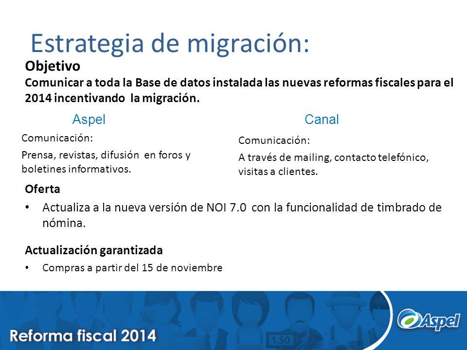 Estrategia de migración: Objetivo Comunicar a toda la Base de datos instalada las nuevas reformas fiscales para el 2014 incentivando la migración. Com