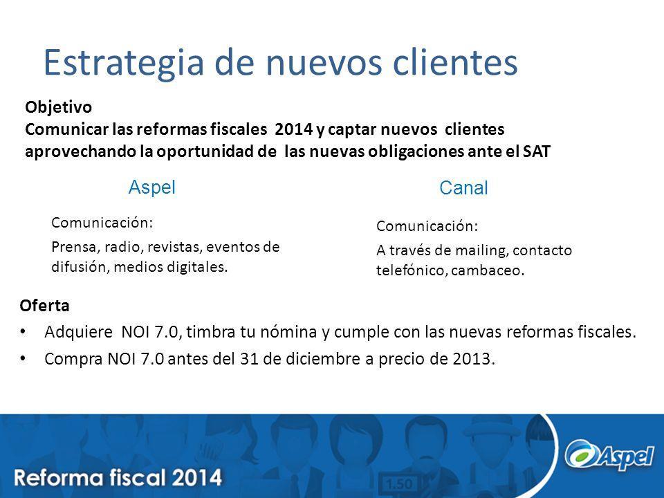 Estrategia de nuevos clientes Objetivo Comunicar las reformas fiscales 2014 y captar nuevos clientes aprovechando la oportunidad de las nuevas obligac