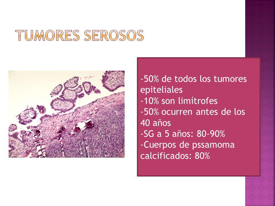 -50% de todos los tumores epiteliales -10% son limítrofes -50% ocurren antes de los 40 años -SG a 5 años: 80-90% -Cuerpos de pssamoma calcificados: 80%