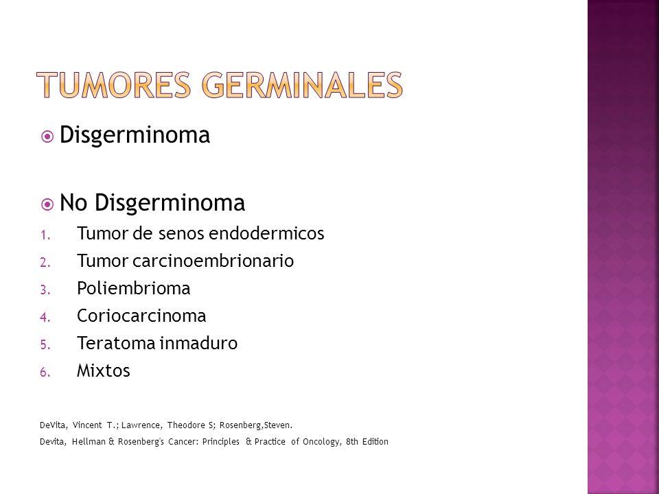 Disgerminoma No Disgerminoma 1.Tumor de senos endodermicos 2.