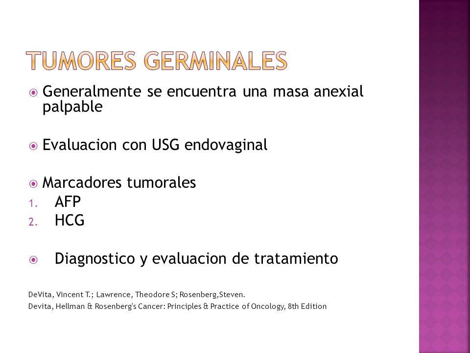 Generalmente se encuentra una masa anexial palpable Evaluacion con USG endovaginal Marcadores tumorales 1.