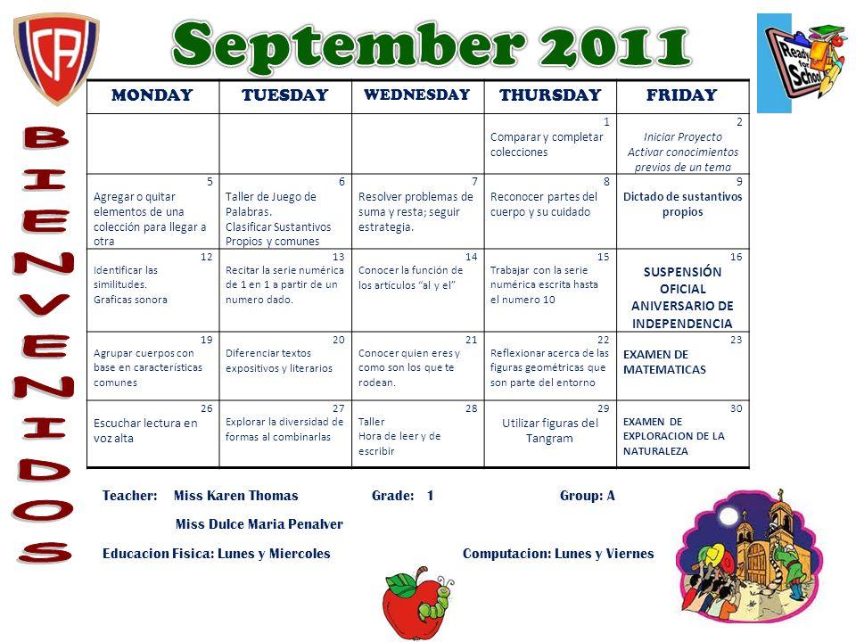MONDAYTUESDAY WEDNESDAY THURSDAYFRIDAY 1 Comparar y completar colecciones 2 Iniciar Proyecto Activar conocimientos previos de un tema 5 Agregar o quit