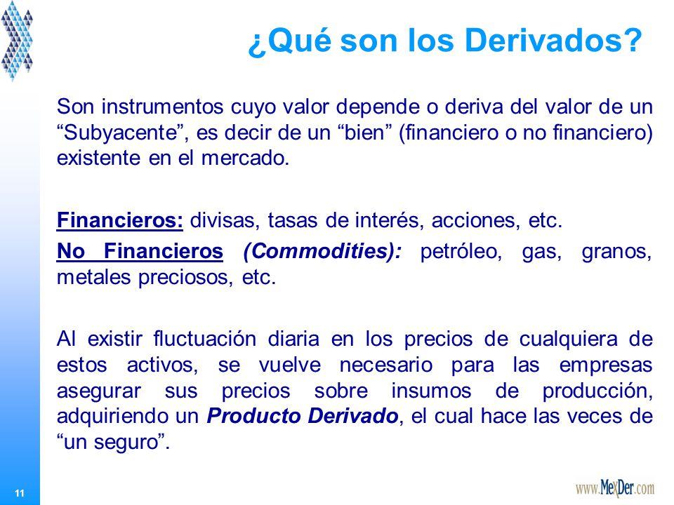 11 Son instrumentos cuyo valor depende o deriva del valor de un Subyacente, es decir de un bien (financiero o no financiero) existente en el mercado.