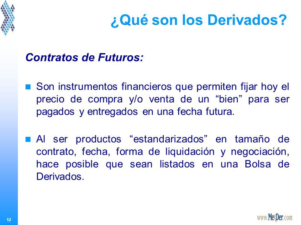 12 Contratos de Futuros: Son instrumentos financieros que permiten fijar hoy el precio de compra y/o venta de un bien para ser pagados y entregados en una fecha futura.
