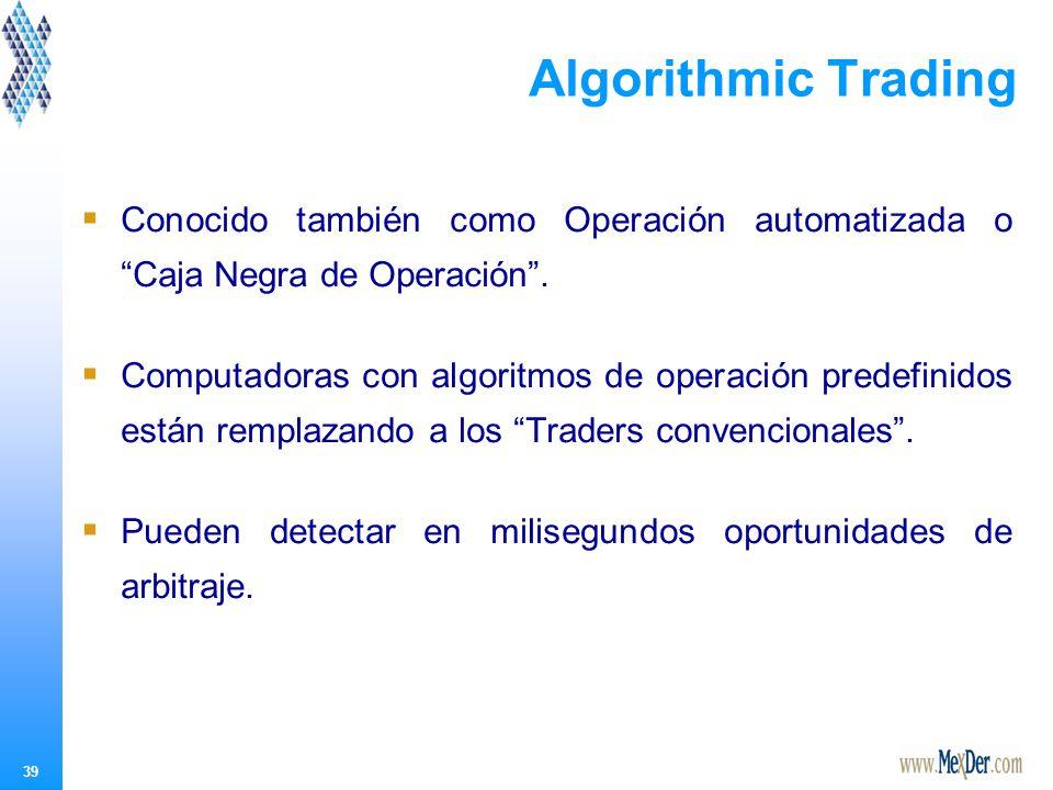 39 Algorithmic Trading Conocido también como Operación automatizada o Caja Negra de Operación.