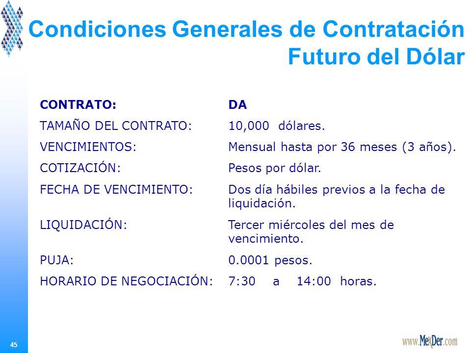 45 Condiciones Generales de Contratación Futuro del Dólar CONTRATO:DA TAMAÑO DEL CONTRATO:10,000 dólares.