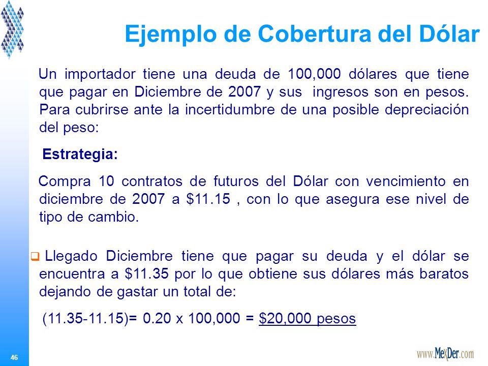 46 Un importador tiene una deuda de 100,000 dólares que tiene que pagar en Diciembre de 2007 y sus ingresos son en pesos.