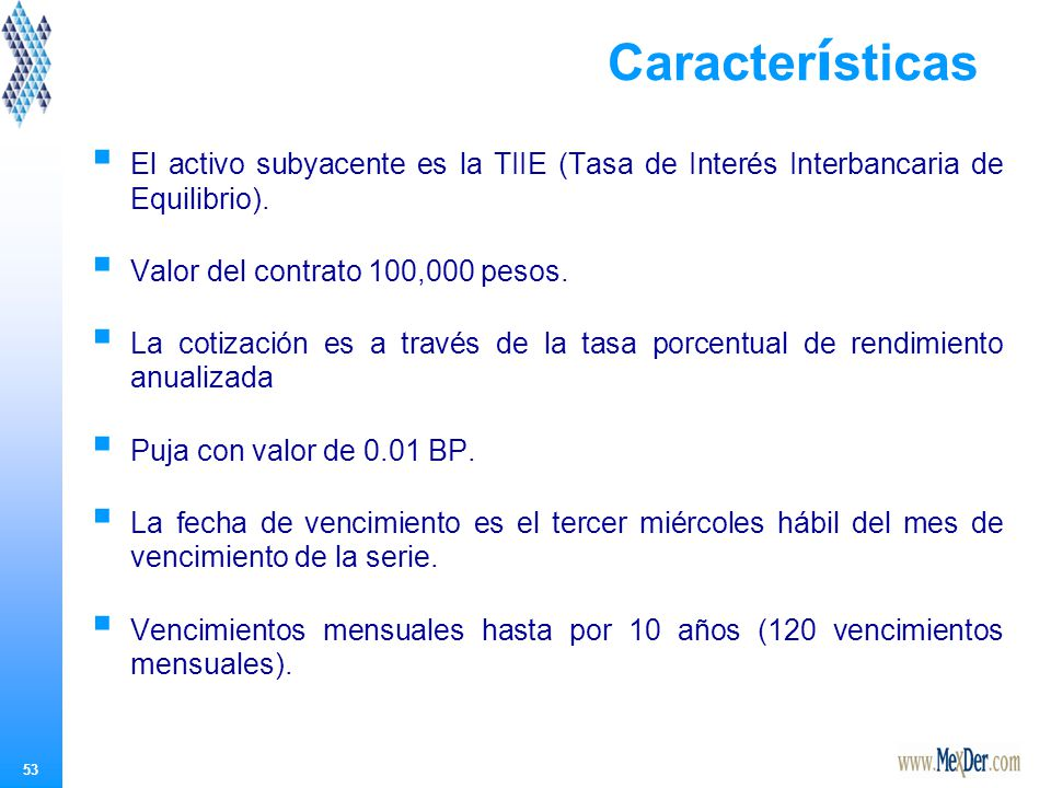 53 Caracter í sticas El activo subyacente es la TIIE (Tasa de Interés Interbancaria de Equilibrio).