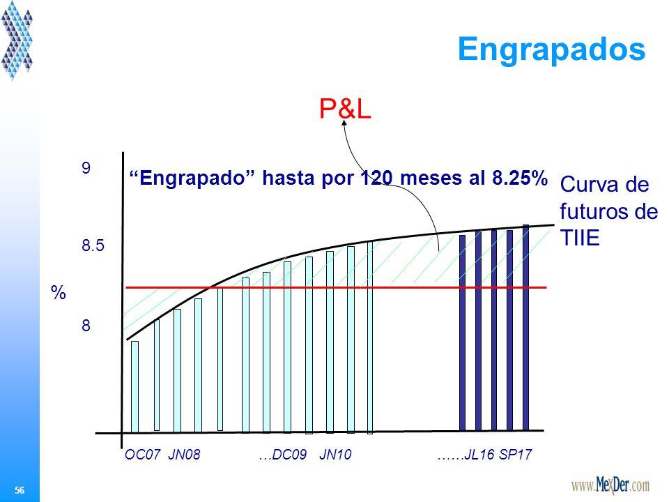 56 Engrapado hasta por 120 meses al 8.25% Curva de futuros de TIIE OC07 JN08…DC09 JN10 ……JL16 SP17 % 9 8.5 8 Engrapados P&L