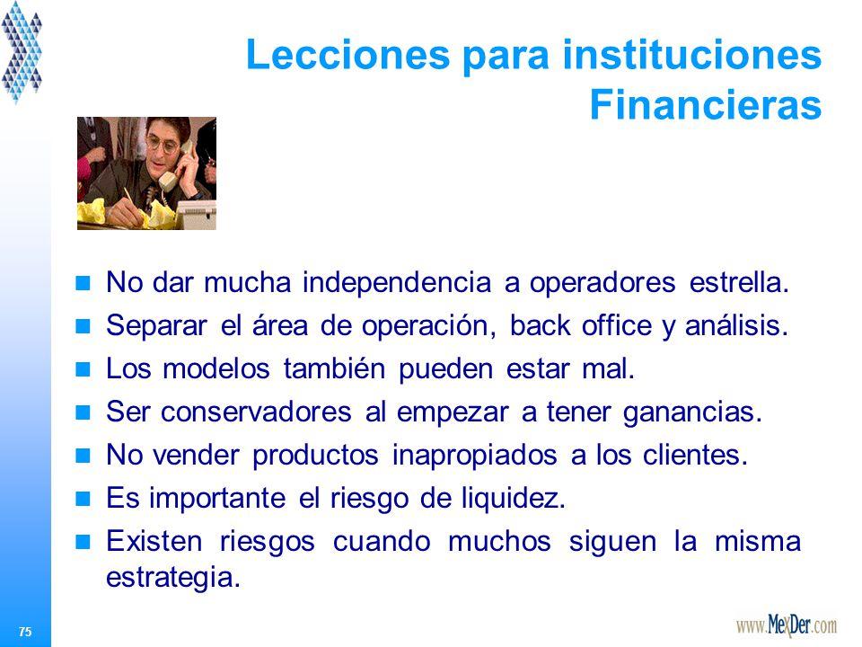 75 Lecciones para instituciones Financieras No dar mucha independencia a operadores estrella.