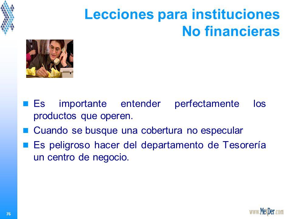 76 Lecciones para instituciones No financieras Es importante entender perfectamente los productos que operen.
