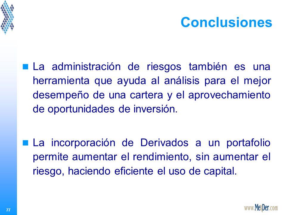 77 Conclusiones La administración de riesgos también es una herramienta que ayuda al análisis para el mejor desempeño de una cartera y el aprovechamiento de oportunidades de inversión.