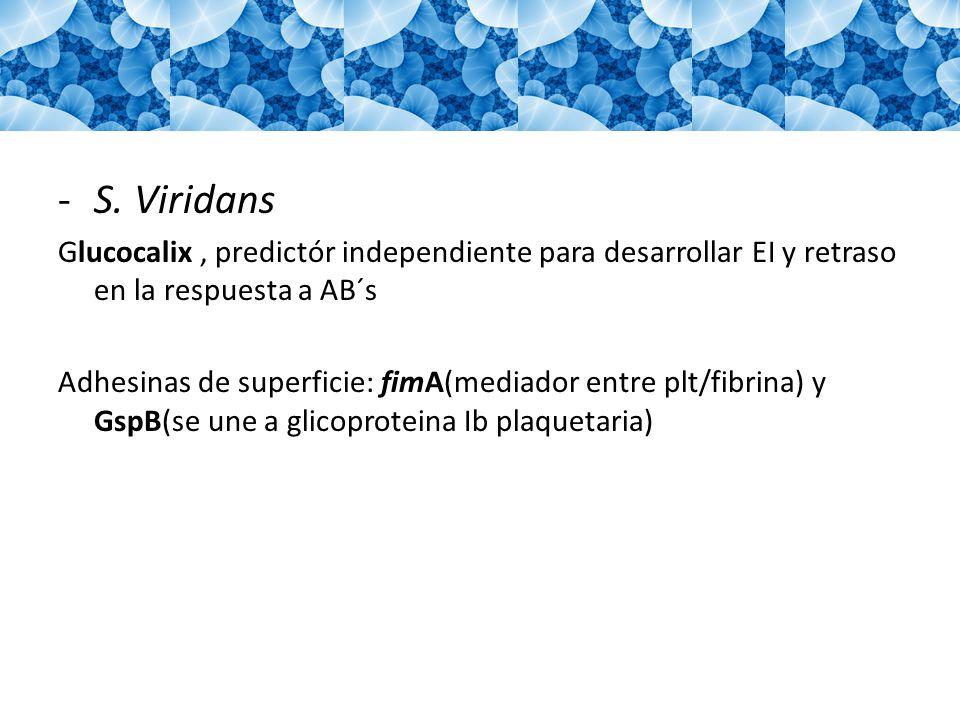 -S. Viridans Glucocalix, predictór independiente para desarrollar EI y retraso en la respuesta a AB´s Adhesinas de superficie: fimA(mediador entre plt