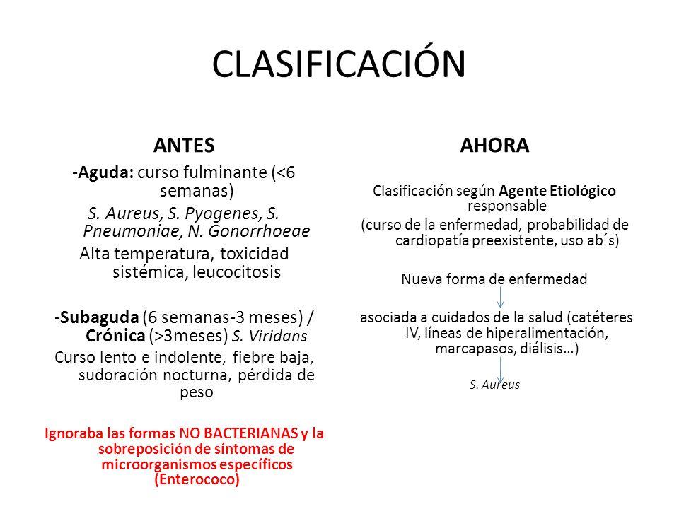 CLASIFICACIÓN ANTES -Aguda: curso fulminante (<6 semanas) S. Aureus, S. Pyogenes, S. Pneumoniae, N. Gonorrhoeae Alta temperatura, toxicidad sistémica,