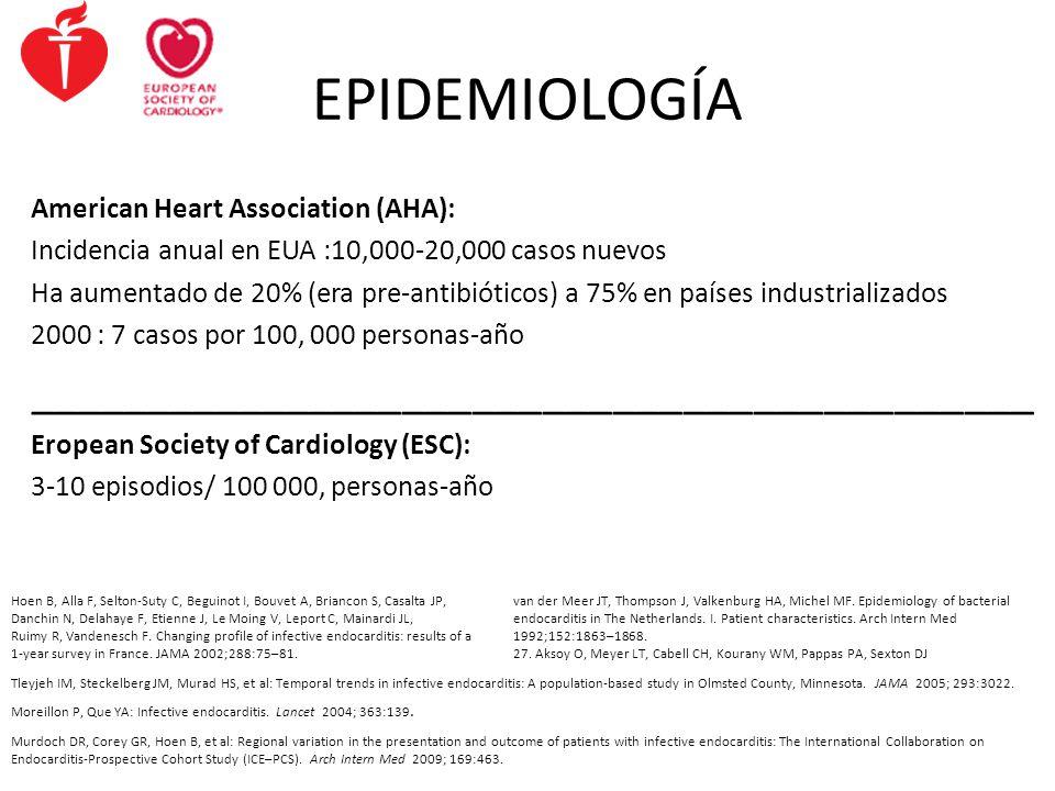 EPIDEMIOLOGÍA American Heart Association (AHA): Incidencia anual en EUA :10,000-20,000 casos nuevos Ha aumentado de 20% (era pre-antibióticos) a 75% e