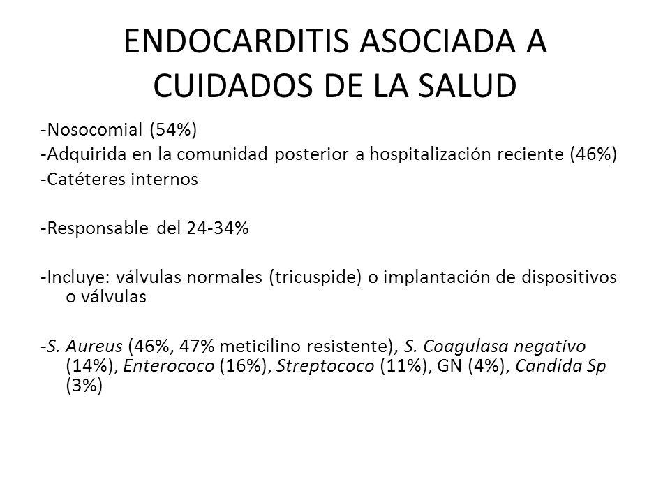 ENDOCARDITIS ASOCIADA A CUIDADOS DE LA SALUD -Nosocomial (54%) -Adquirida en la comunidad posterior a hospitalización reciente (46%) -Catéteres intern