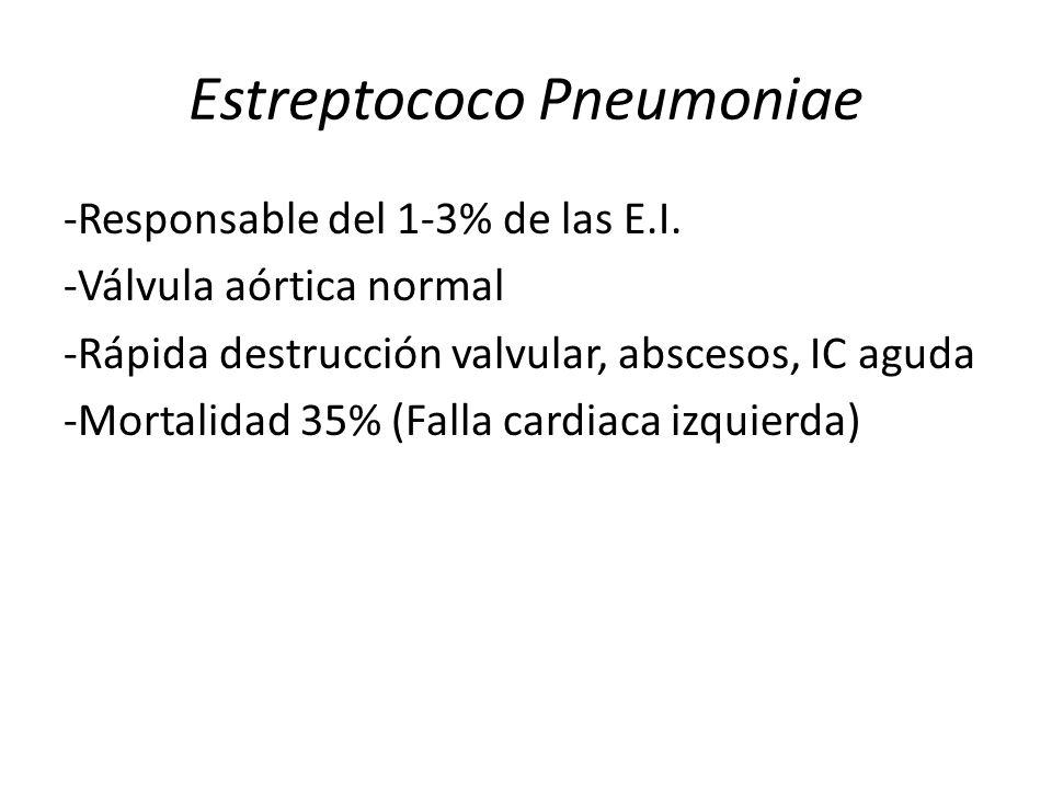 Estreptococo Pneumoniae -Responsable del 1-3% de las E.I. -Válvula aórtica normal -Rápida destrucción valvular, abscesos, IC aguda -Mortalidad 35% (Fa