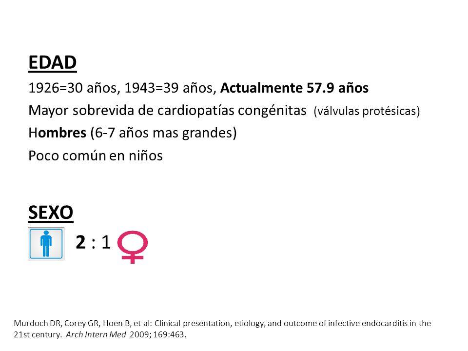 EDAD 1926=30 años, 1943=39 años, Actualmente 57.9 años Mayor sobrevida de cardiopatías congénitas (válvulas protésicas) Hombres (6-7 años mas grandes)