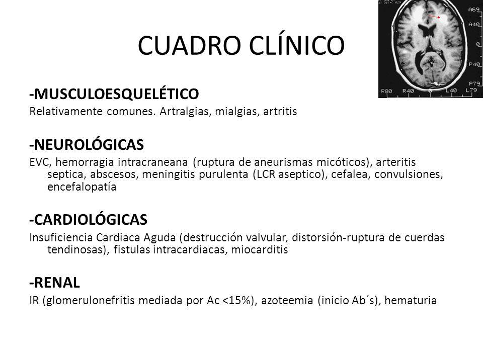 CUADRO CLÍNICO -MUSCULOESQUELÉTICO Relativamente comunes. Artralgias, mialgias, artritis -NEUROLÓGICAS EVC, hemorragia intracraneana (ruptura de aneur