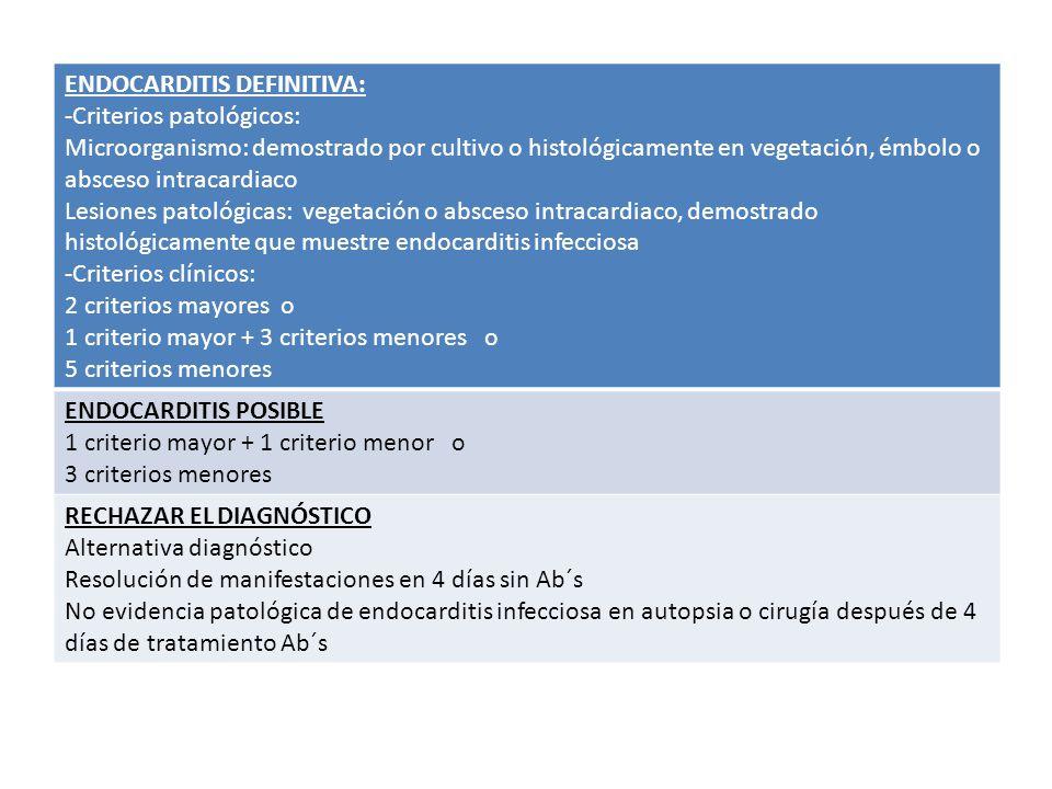 ENDOCARDITIS DEFINITIVA: -Criterios patológicos: Microorganismo: demostrado por cultivo o histológicamente en vegetación, émbolo o absceso intracardia