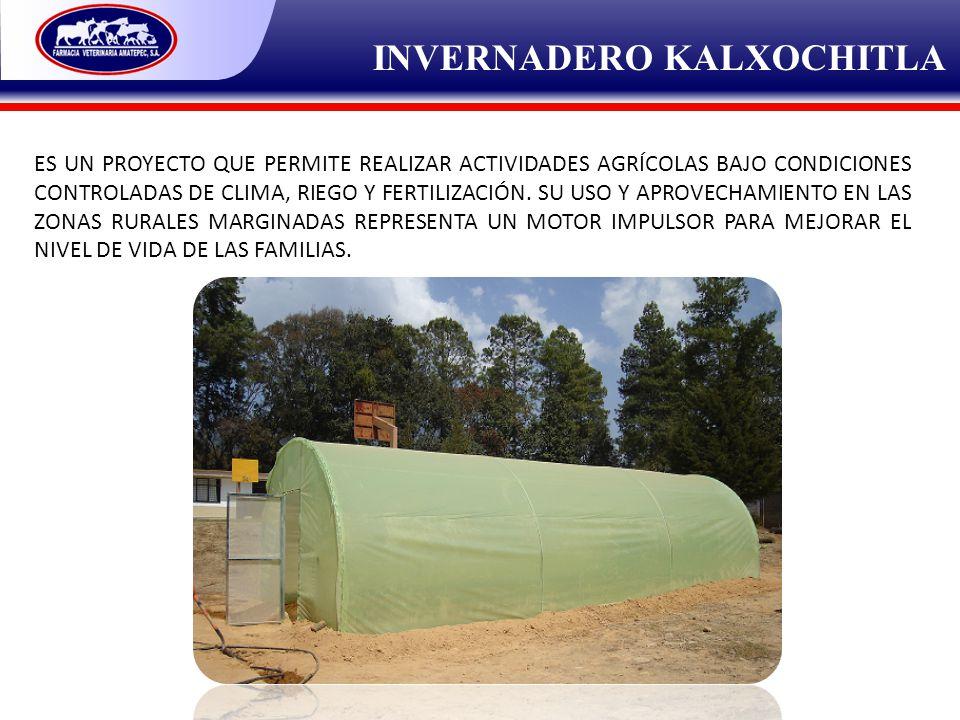 INVERNADERO KALXOCHITLA ES UN PROYECTO QUE PERMITE REALIZAR ACTIVIDADES AGRÍCOLAS BAJO CONDICIONES CONTROLADAS DE CLIMA, RIEGO Y FERTILIZACIÓN. SU USO