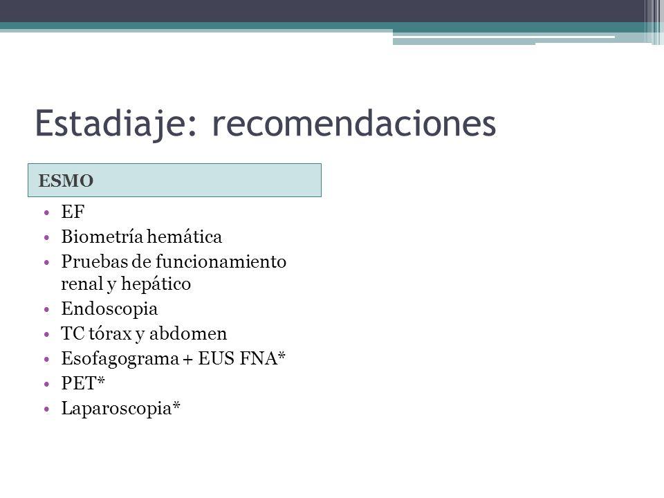 Estadiaje: recomendaciones ESMO EF Biometría hemática Pruebas de funcionamiento renal y hepático Endoscopia TC tórax y abdomen Esofagograma + EUS FNA*