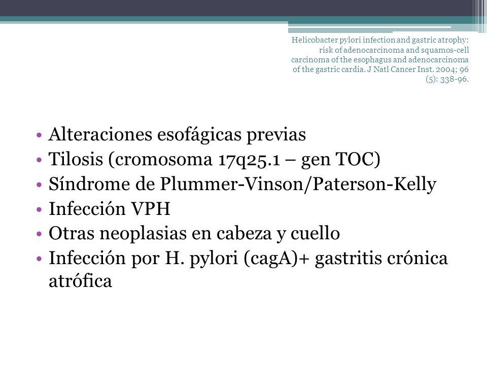 Factores de riesgo: adenocarcinoma Tabaquismo (39.7%) Sobrepeso / obesidad (41.4%) Historia de reflujo GE (29.7%) Dieta pobre en frutas y vegetales (15.3%) Bifosfonatos (??) Ausencia de infección por H.