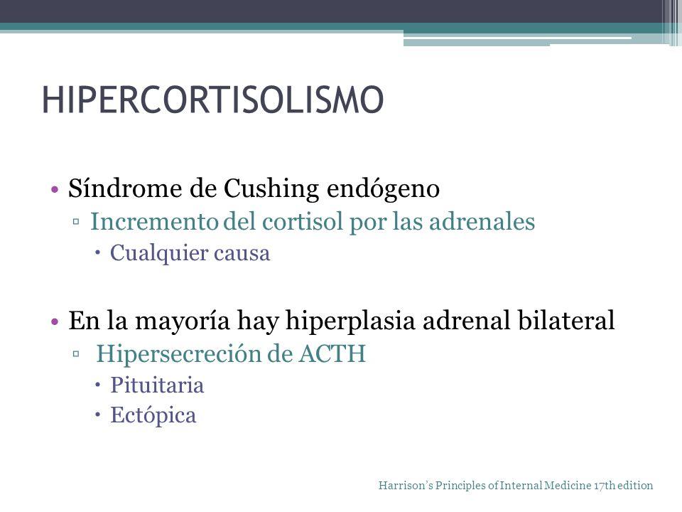HIPERCORTISOLISMO Síndrome de Cushing endógeno Incremento del cortisol por las adrenales Cualquier causa En la mayoría hay hiperplasia adrenal bilater