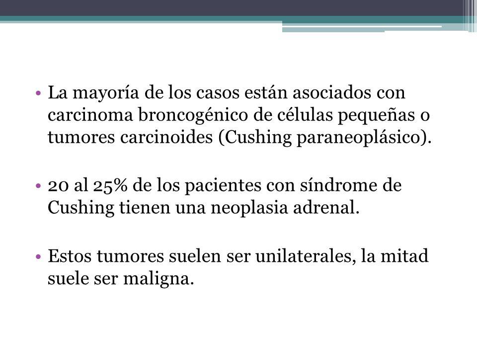 La mayoría de los casos están asociados con carcinoma broncogénico de células pequeñas o tumores carcinoides (Cushing paraneoplásico). 20 al 25% de lo