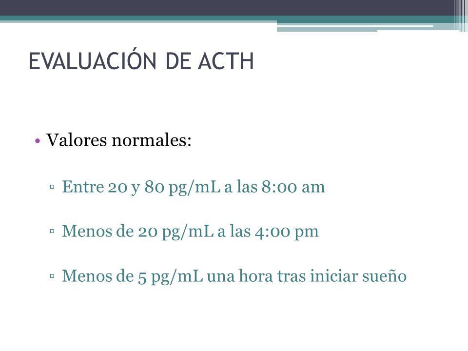 EVALUACIÓN DE ACTH Valores normales: Entre 20 y 80 pg/mL a las 8:00 am Menos de 20 pg/mL a las 4:00 pm Menos de 5 pg/mL una hora tras iniciar sueño