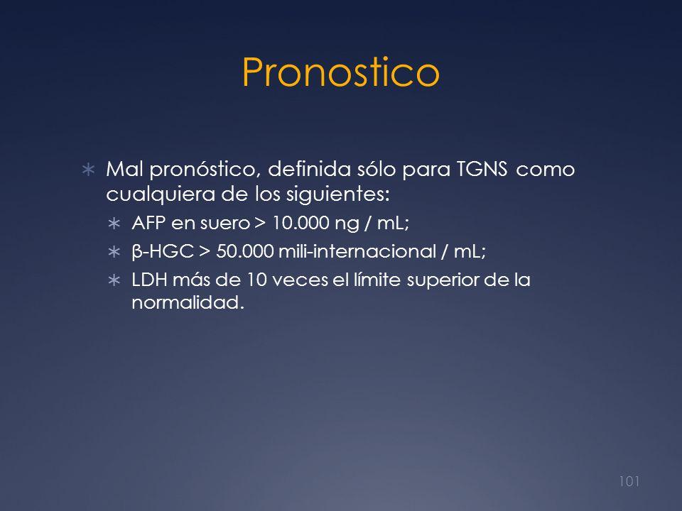 Pronostico Mal pronóstico, definida sólo para TGNS como cualquiera de los siguientes: AFP en suero > 10.000 ng / mL; β-HGC > 50.000 mili-internacional