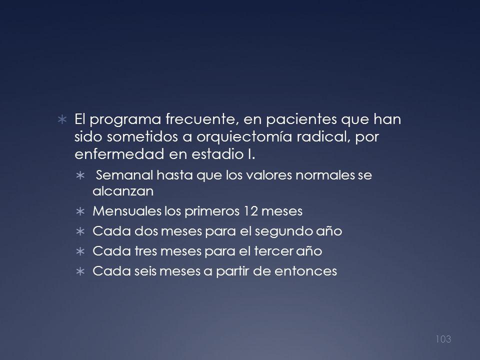 El programa frecuente, en pacientes que han sido sometidos a orquiectomía radical, por enfermedad en estadio I. Semanal hasta que los valores normales