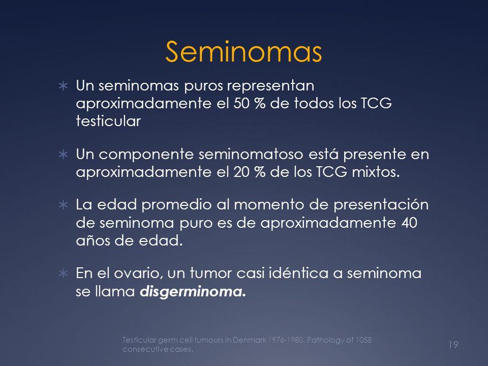 Seminomas Un seminomas puros representan aproximadamente el 50 % de todos los TCG testicular Un componente seminomatoso está presente en aproximadamen