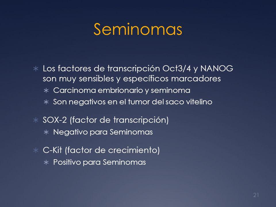 Seminomas Los factores de transcripción Oct3/4 y NANOG son muy sensibles y específicos marcadores Carcinoma embrionario y seminoma Son negativos en el